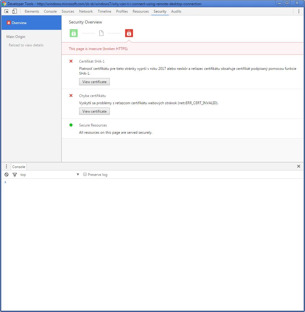 Chybové hlásenie konzoly webdevelopera v prehliadač pri pokuse o prístup na proxy