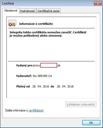chyba certifikátu