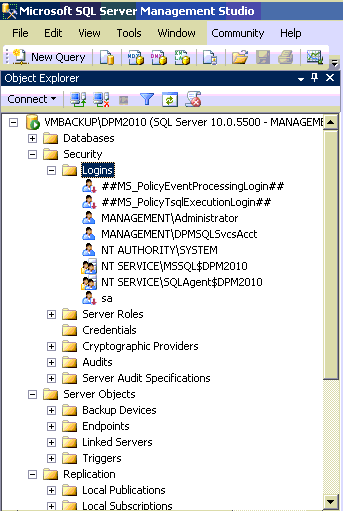 User Access on DPM2010 SQL-database