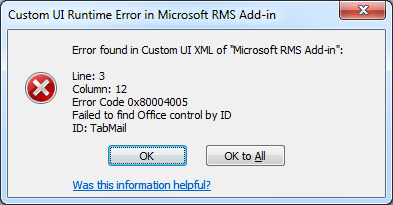 Office 2010 - Error found in Custom UI XML of