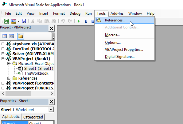 microsoft visual basic for applications file not found excel 2016