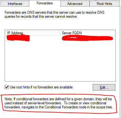 DNS Conditional Forwarders and Recursion