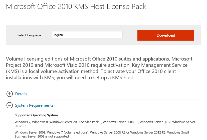activate office 2010 kms server 2016