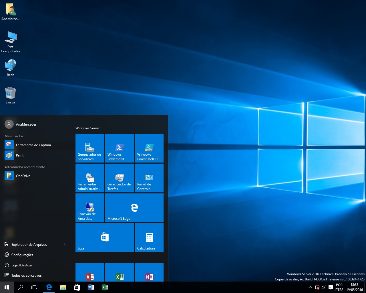Windows Server 2016 Technical Preview 5 Essentials instalei hoje