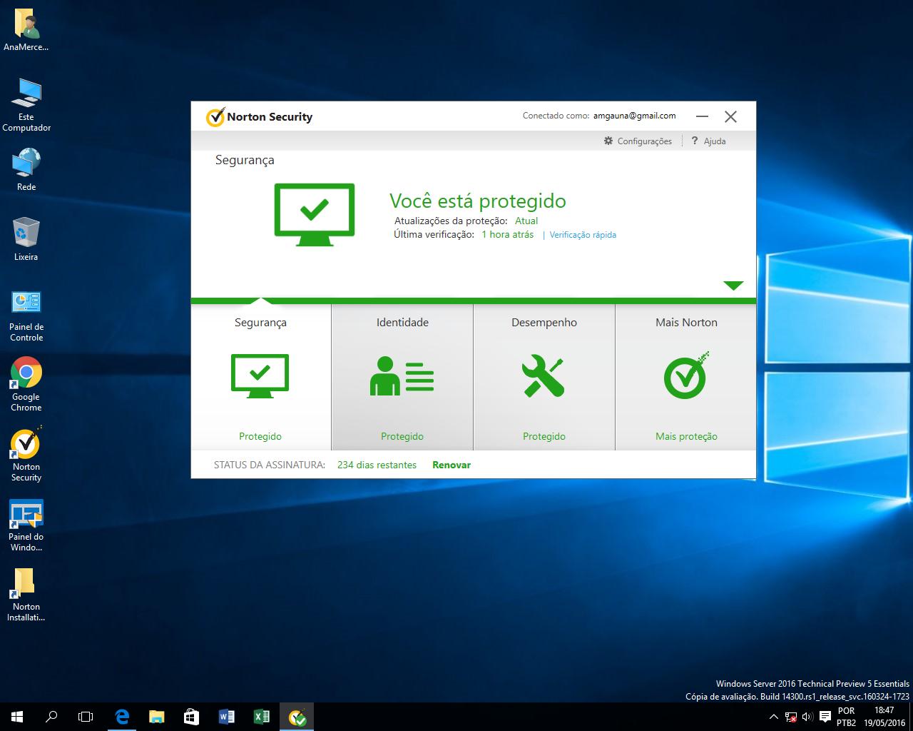 Windows Server 2016 Preview 5 + Symantec Norton 2016