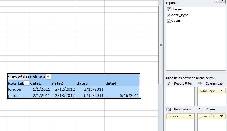dispaying data in a pivot table in rows horizontally