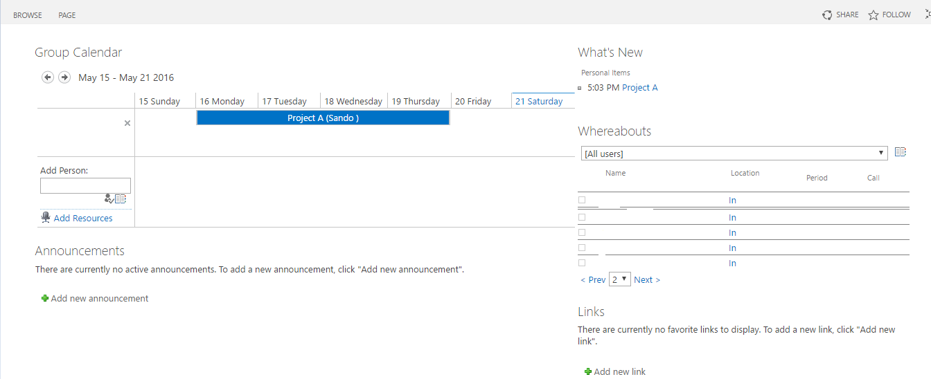 Office 365 Sharepoint Group Work Space Site Template