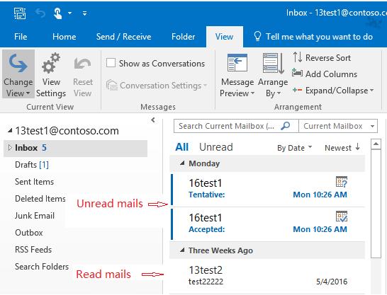 Outlook unread count not updating