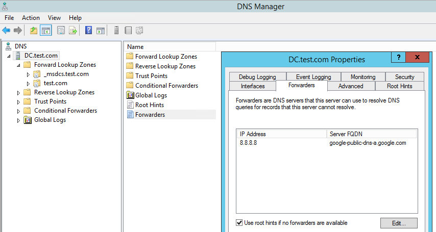 Alternate DNS Server Settings
