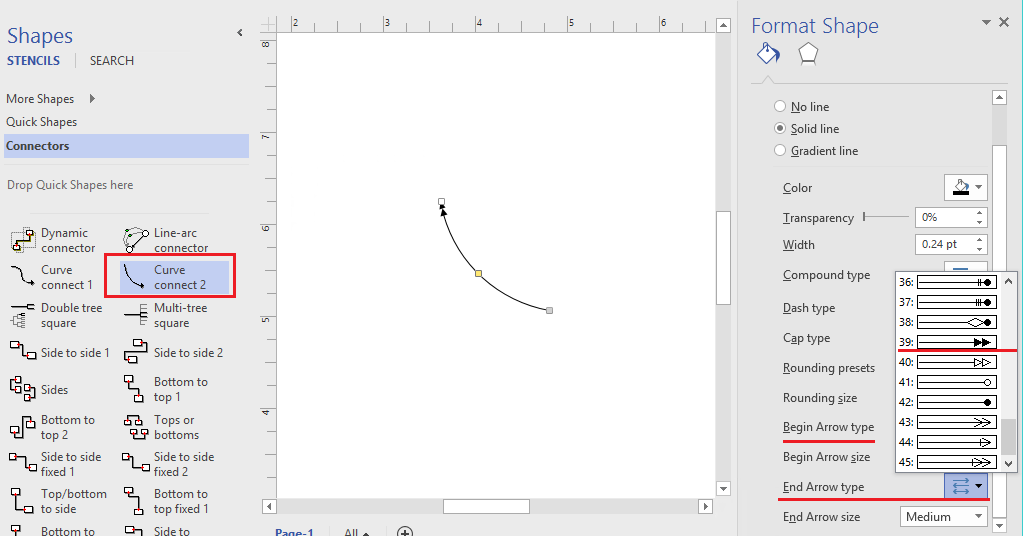 Visio Drawing Lines With Curves : Change of arrow types impossible visio