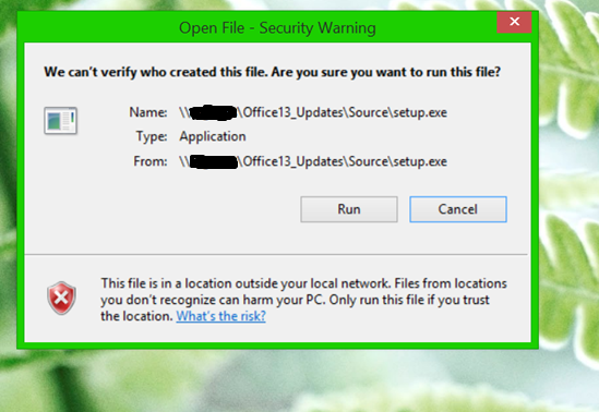 how to disable open file security warning on  exe installation from GPO