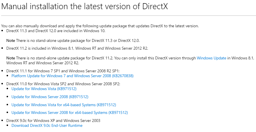 How to reinstall DirectX on Win10?