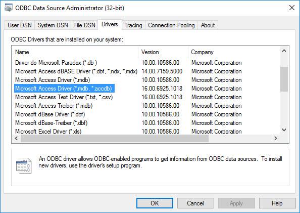Драйвер Odbc Microsoft Access