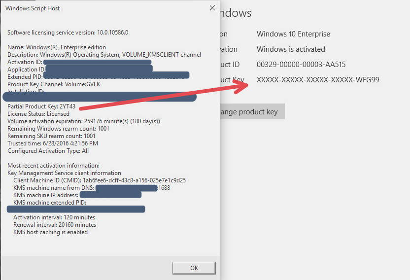 Windows 10 and update 1511 and kms key changing in windows 10 slmgr dlv to see what exact key the system had vs what the gui was showing and yup it actually has the proper kms key but the gui is not showing this ccuart Images