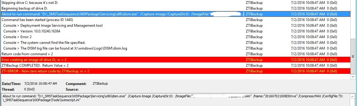 ZTI Backup via SCCM 2012 Task Sequence Issue (0x80070002)