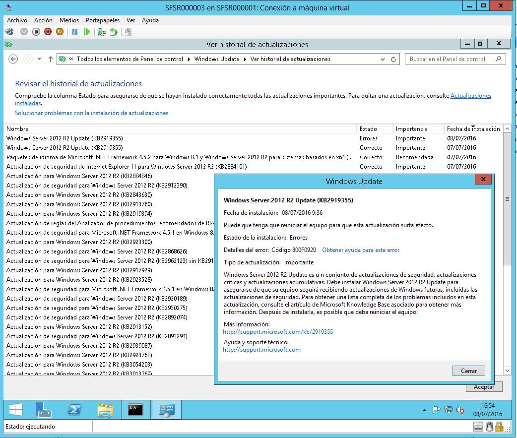 Historial Actualizaciones WS2012R2