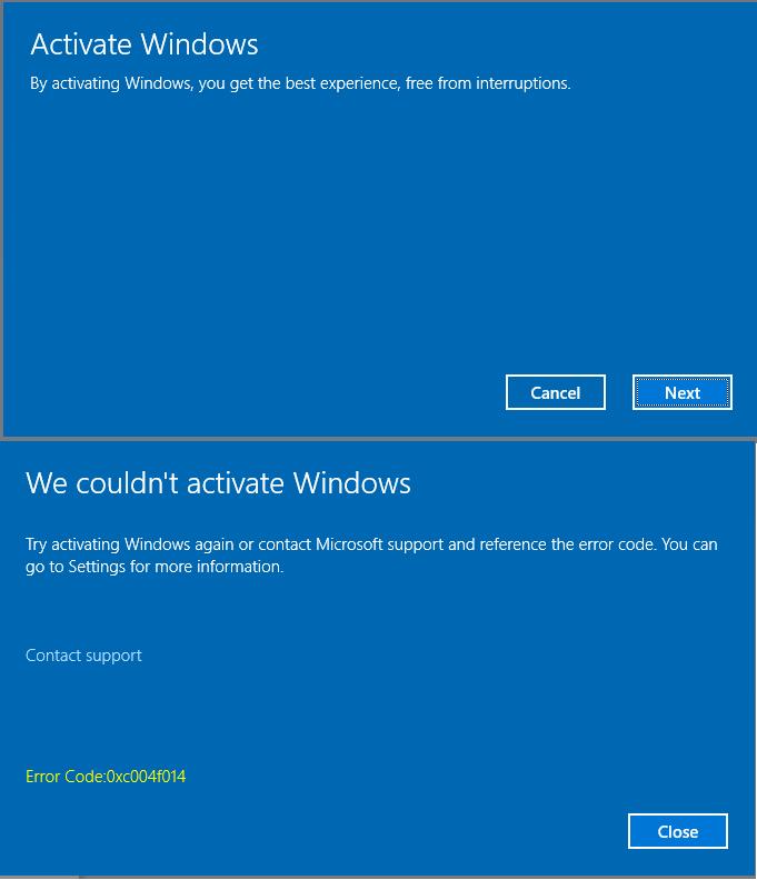 Windows 10 Enterprise Evaluation to Windows 10 Pro [0xc004f014]