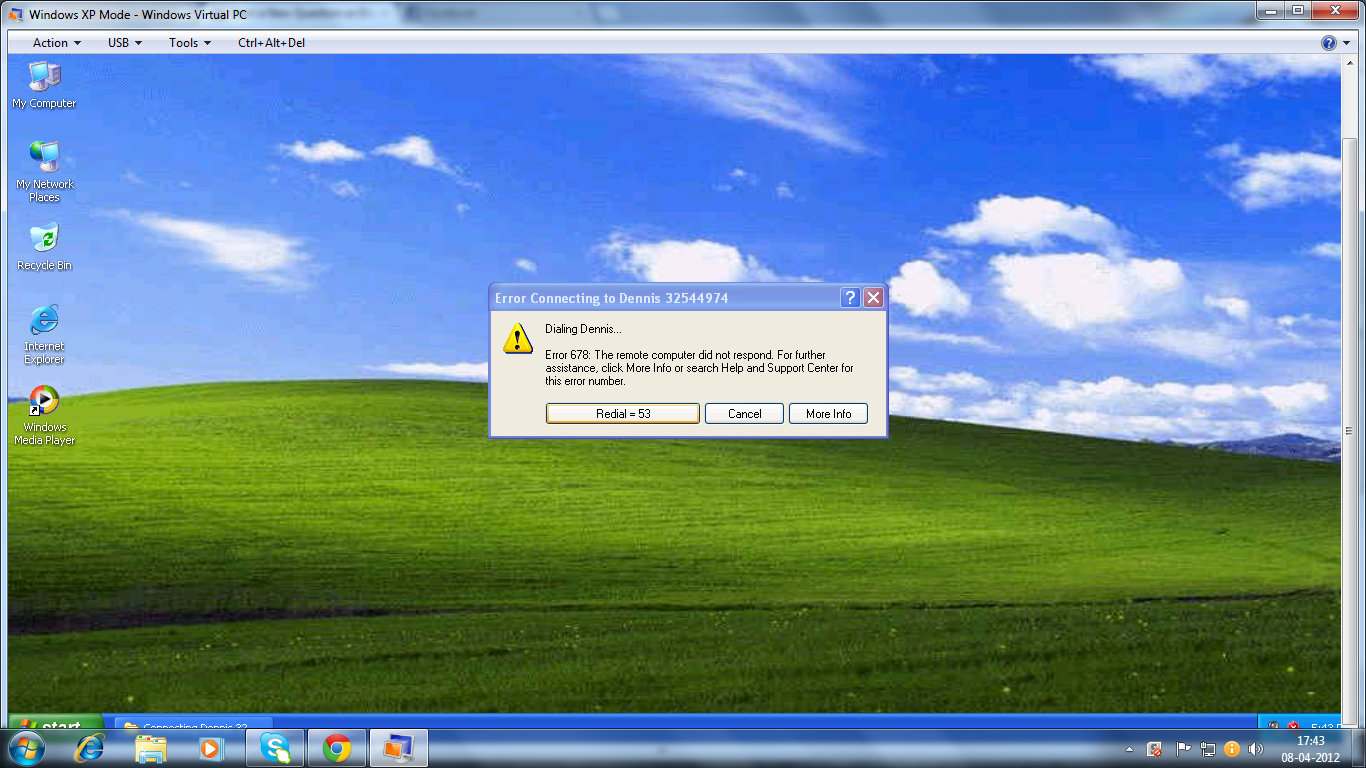 Windows XP MODE DIALING ERROR