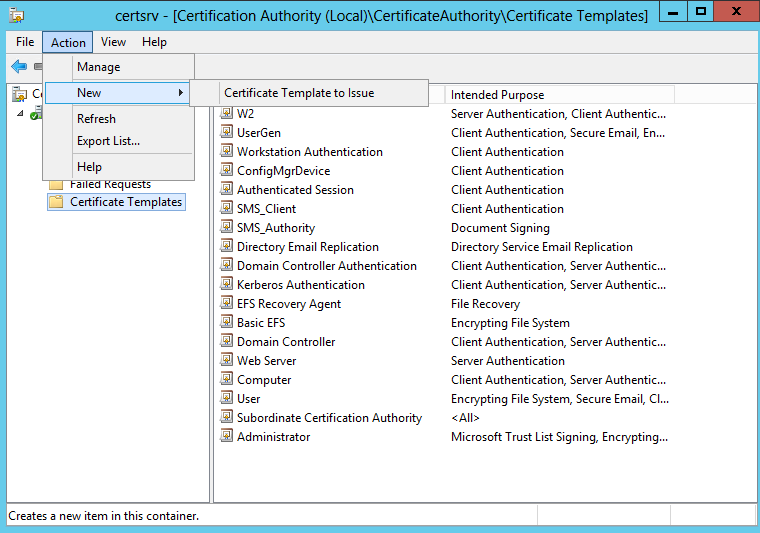 Ndes sccm intune certificate provisioning then you choose from the menu action new certificate template to issue then find the template you created and select it yelopaper Image collections