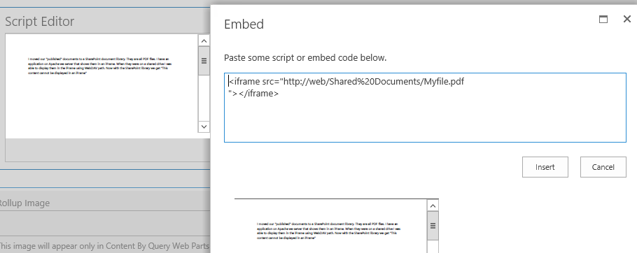 Show Sharepont documents/files in an iFrame