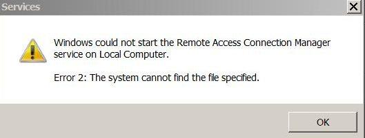 service startup error