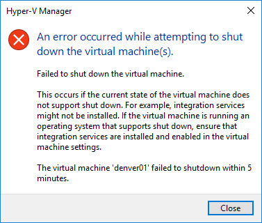 Windows 10 Build 10586 :: Error shutting down VM