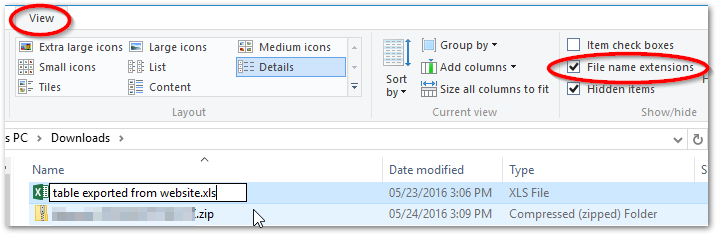 display File name extensions