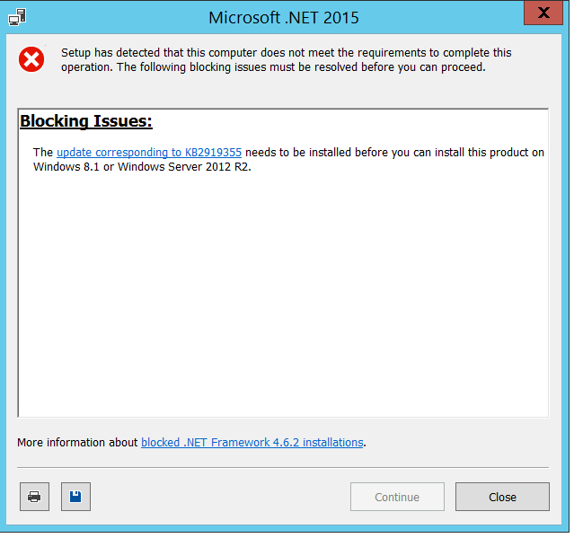 Unable to install .net framework 4.6.1 on Windows Server 2012 R2