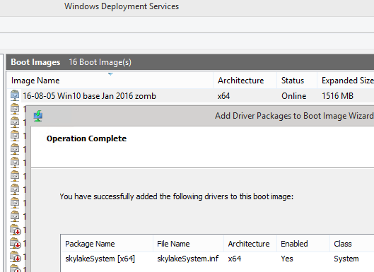 WDS 2012 R2: Can't install drivers into Win 10 boot wim