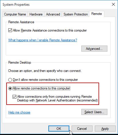 enabling remote desktop windows 7