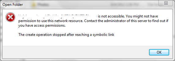 The create operation stopped after reaching a symbolic link