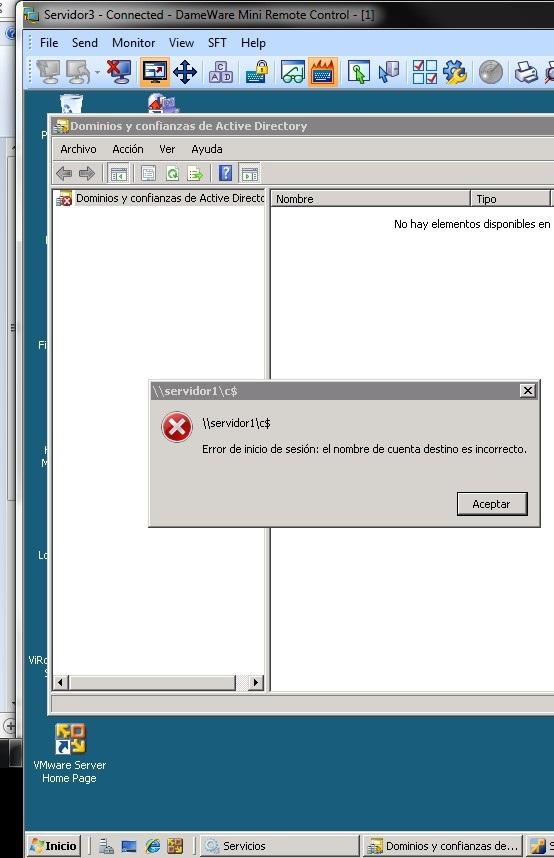 Aqui el servidor3=dc secundario no puede ver al servidor1 y con error de inicio de sesion