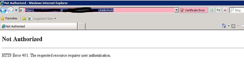 Browser display HTTP Error 401