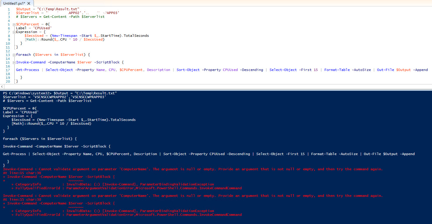 Powershell to get CPU usage report