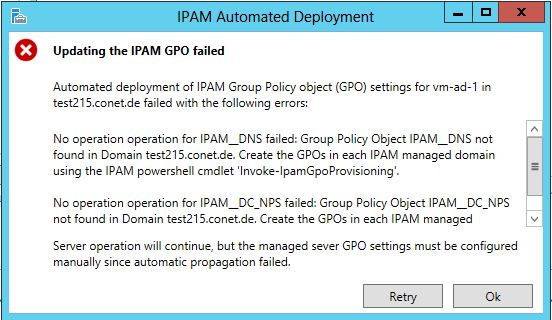 Updating IPAM GPO failed Message Box