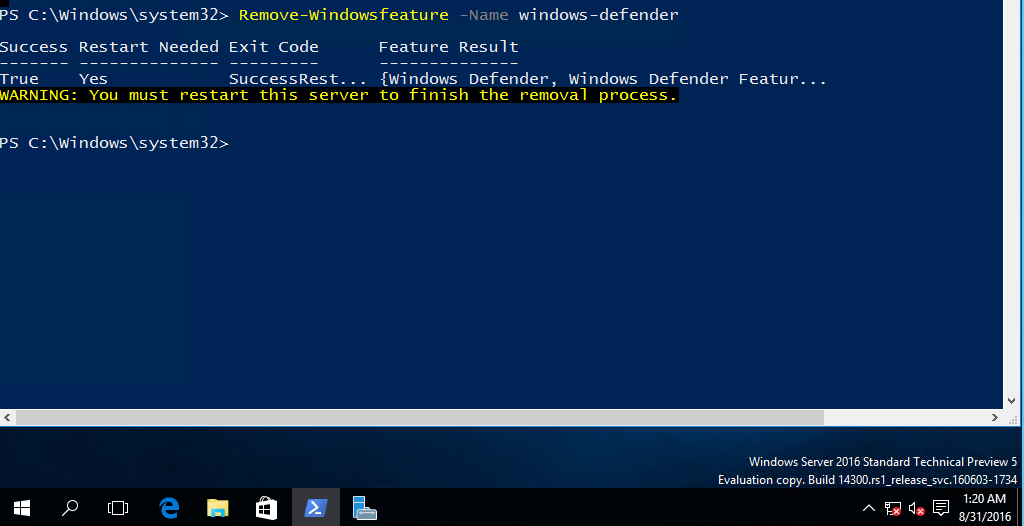 I m Unable to remove the Windows Defender feature from Windows