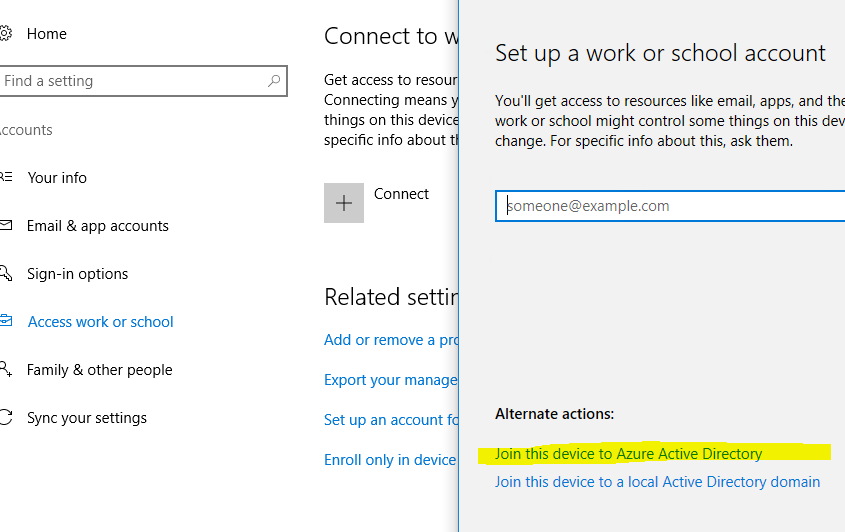 Join Azure AD button missing