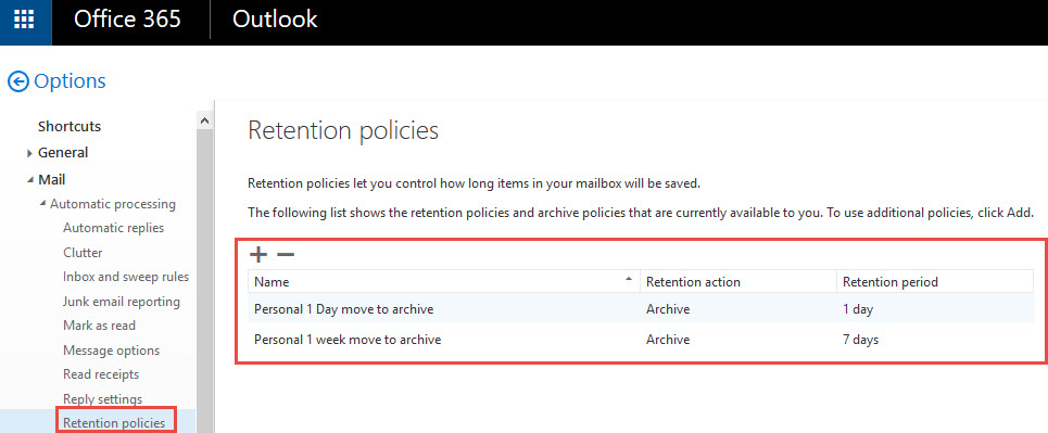 Retention policies in OWA