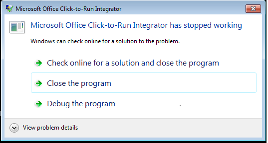 Integrator stopped working error when Office 2016 APPV5 is deployed