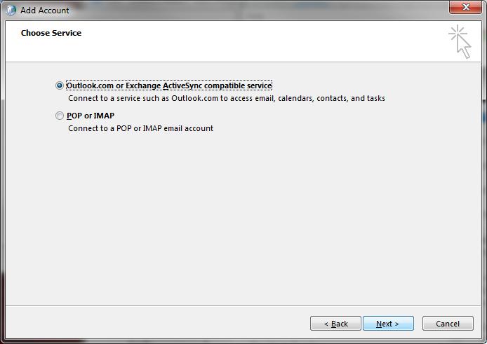Outlook 2016 add Account: Log onto Exchange ActiveSync mail