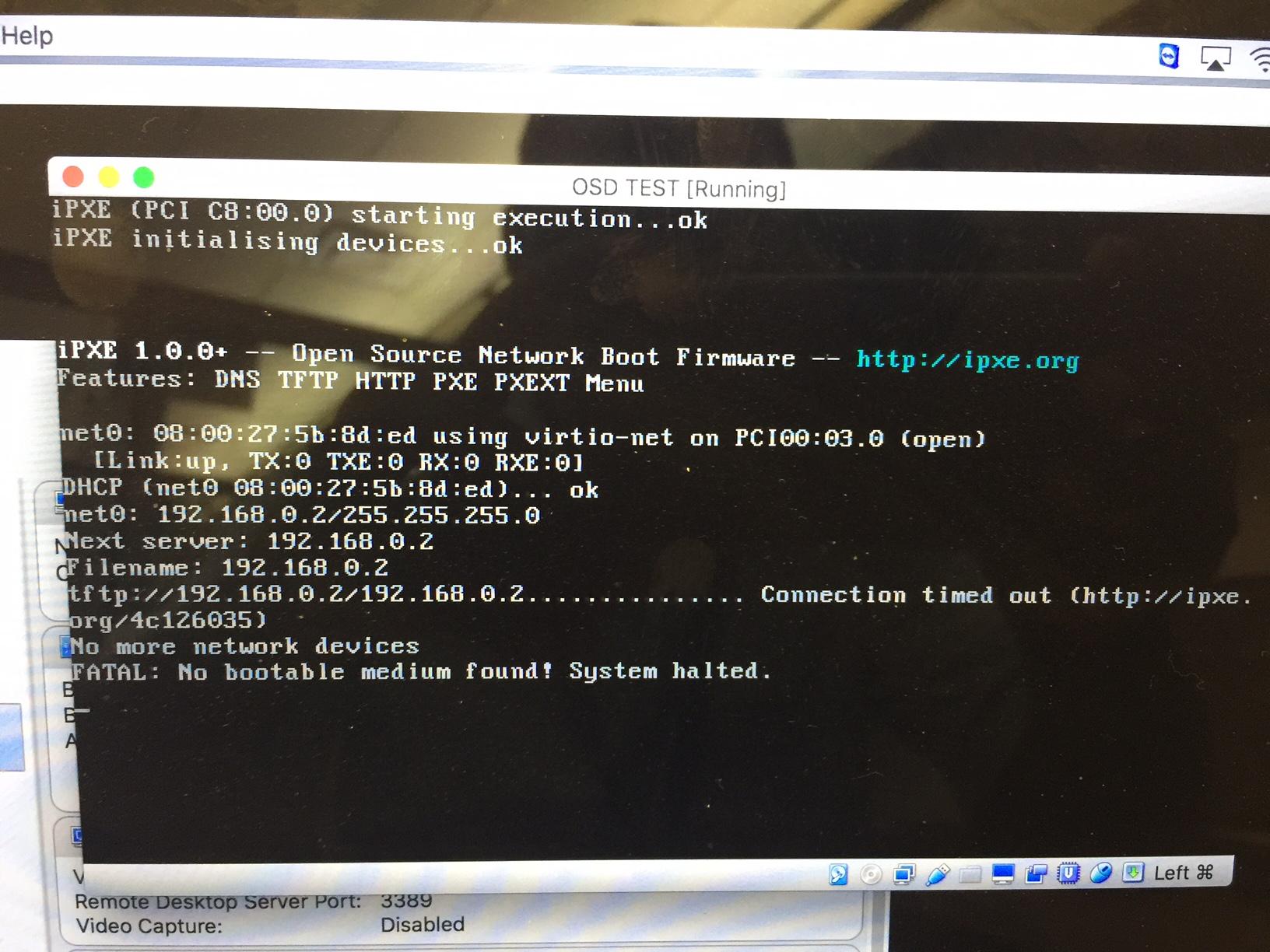 No bootable medium found   system halted