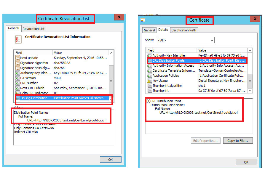 Cross sign new pki issuing ca by current root ca also check compare the url from latest crl certificate and both should be same yadclub Choice Image