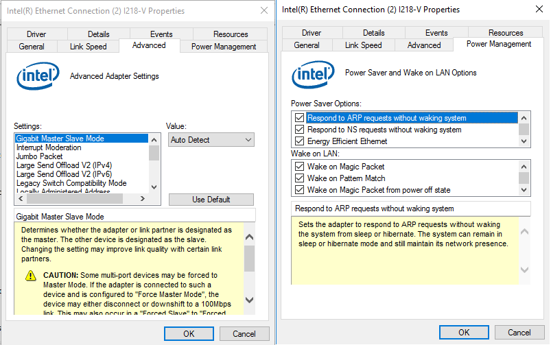 Wake on lan after power of not working (intel I218-V)