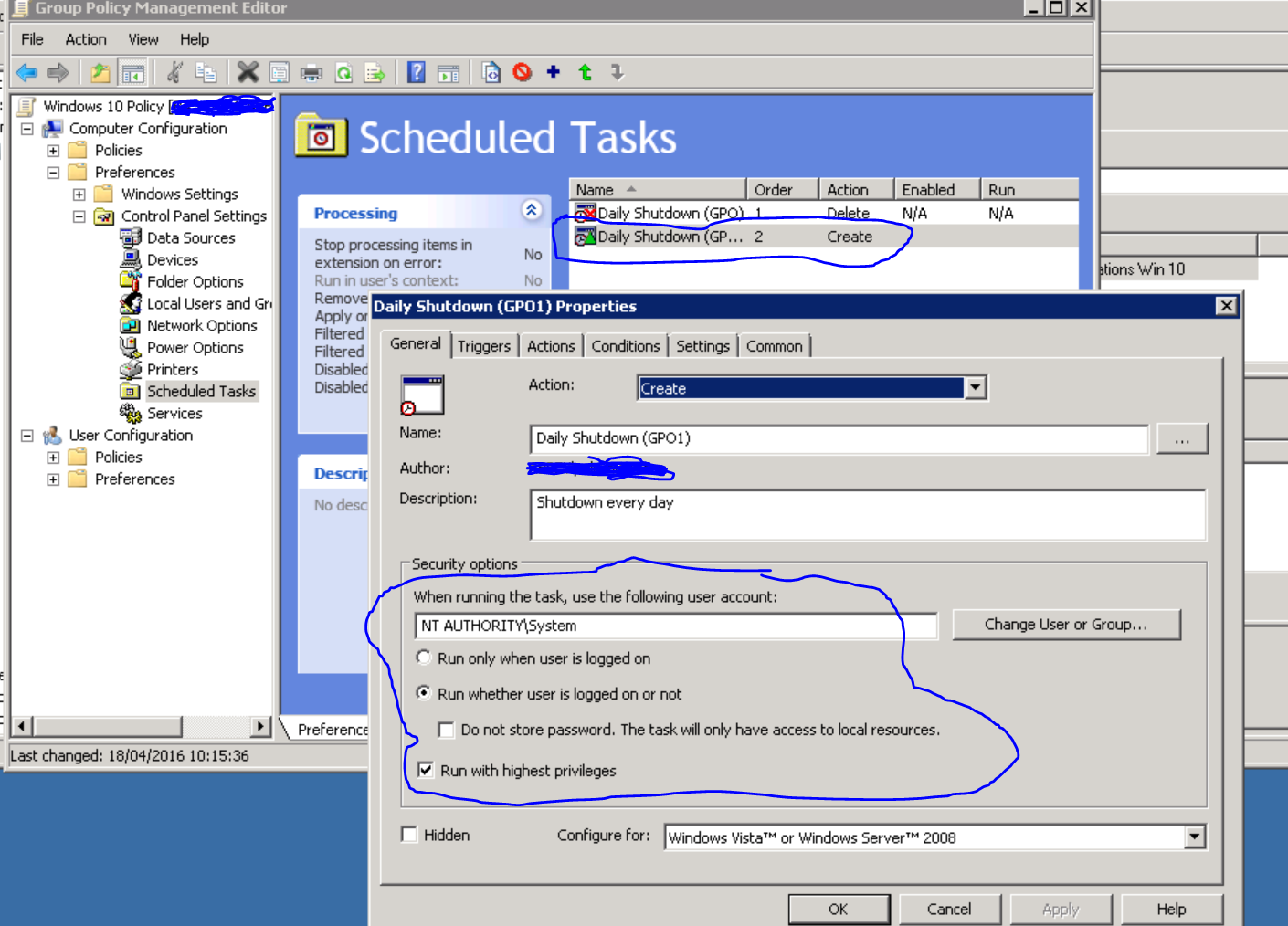 Group Policy Scheduled task preferences windows 10?