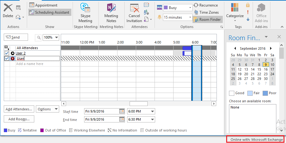 Outlook 2016 Username Not Working in Scheduling Assistant