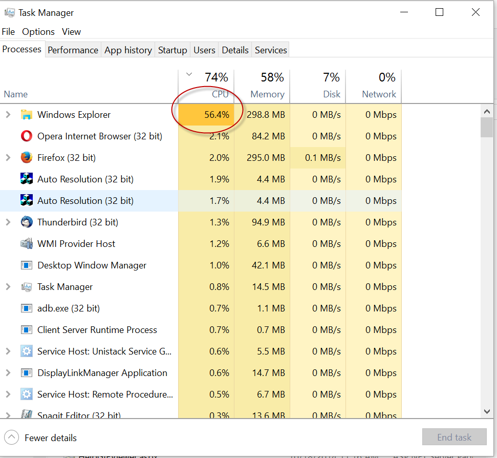 Windows Explorer high CPU usage (100% reproducible)