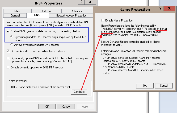 Dns not updating from dhcp in windows 2008