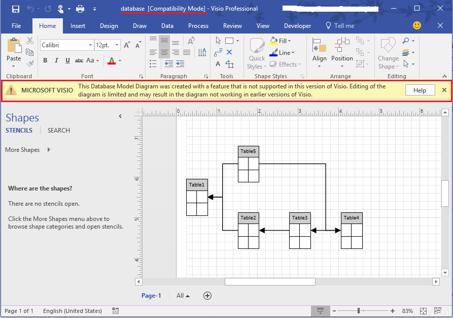 i tested in my environment i can open the database diagram created in previous visio 2010 version from visio 2016 the drawing is opened in compatibility - My Visio