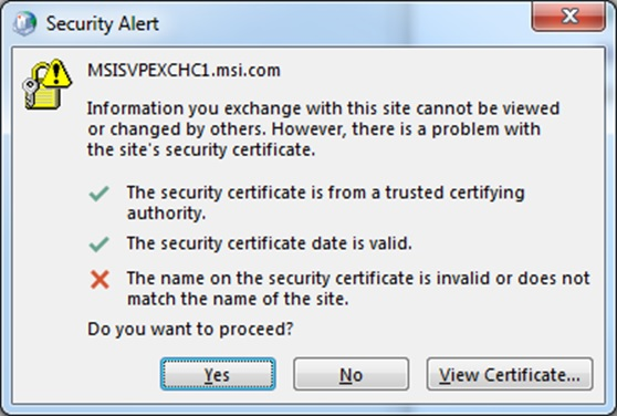 Security alert when connecting to exchange server 2013