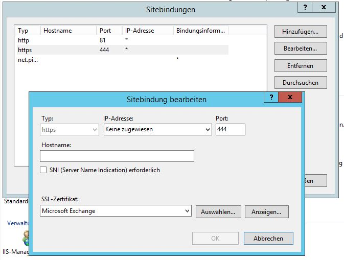 03 - Screenshot Bindungen und Zertifikat Exchange Back End